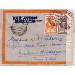 1939 septembre lettre avion à 5 f. 40 pour la France