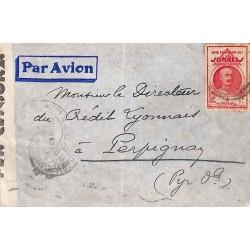 1940  Lettre avion par voie italienne Affranchissement à 1 f