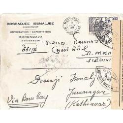 1939 MORONDAVA MADAGASCAR CONTROLE POSTAL MILITAIRE * Commission Centrale *