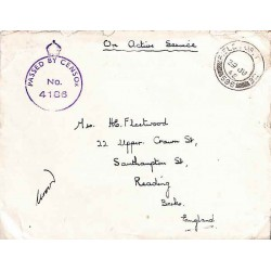 1942 FIELD POST OFFICE 596  PASSED BY CENSOR No 4186