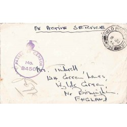 1942 FIELD POST OFFICE 596 PASSED BY CENSOR No 3450