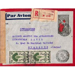 1945 TANANARIVE TSARALALANA MADAGASCAR CONTROLE POSTAL MILITAIRE Cachet censure G 22