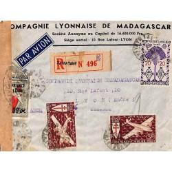 1945 TAMATAVE MADAGASCAR CONTROLE POSTAL MILITAIRE Cachet censure G 8