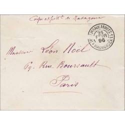 1896 T or ET Pes AUX ARMEES 1 MADAGASCAR 1