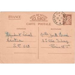 1941 Carte interzone 90 c Iris Oblitération POSTE AUX ARMEES *