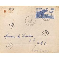 1957 Lettre locale recommandée avec avis réception