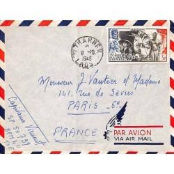 Enveloppe 1949 avion pour la France envoyée par un militaire du BPM 411  Affranchissement 48  THAKHEK  LAOS