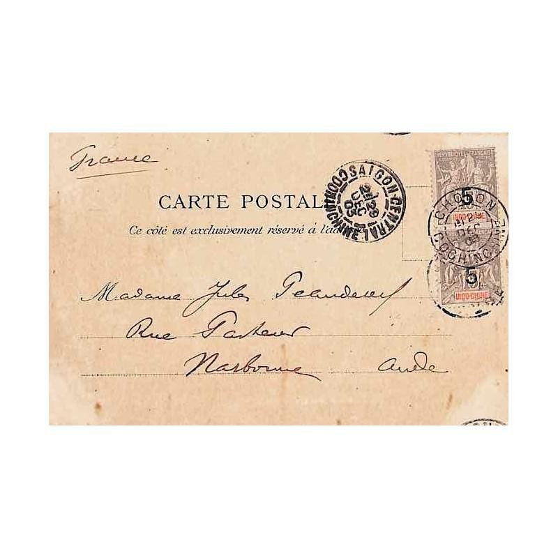 1903 Carte postale pour la France de SAIGON CENTRAL