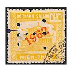 Saigon Cholon 1962 timbre fiscal régional 10 $ jaune