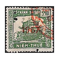 Saigon Cholon 1967 timbre fiscal régional 5 $ vert Duston PZ5C