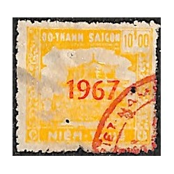 regional revenue stamp Saigon 10 $ yellow overprint 1967