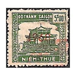 Saigon Cholon 1968 timbre fiscal régional 5 $ vert