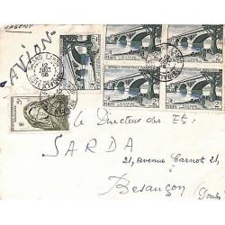 1956 lettre avion à 15 f de...