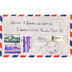 1953 BECHARRE Lettre recommandée avion avec Liban 83 (x 2) 86