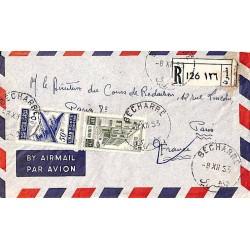1953 BECHARRE Lettre recommandée avion avec Liban 93
