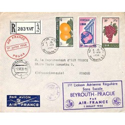 1956 BEYROUTH Lettre recommandée avion PRAGUE PAR AIR FRANCE