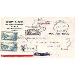 1949 BEYROUTH F Lettre recommandée avion