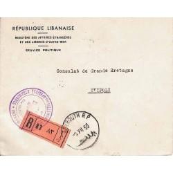 1950 BEYROUTH R.P Lettre de service recommandée