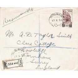 1953 TRIPOLI-MARINE Lettre recommandée pour la Grande-Bretagne