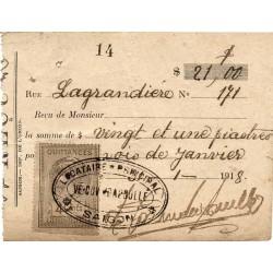 Reçu de loyer 1919 avec...