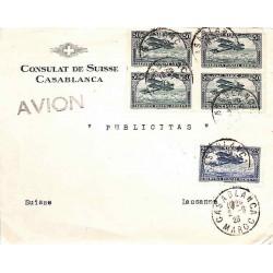 1926 Lettre pour la Suisse à 1 f 25 CASABLANCA MAROC