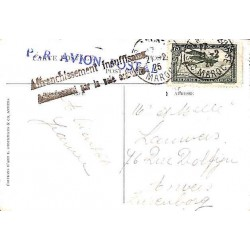 1925 Carte postale avion pour la Belgique  MAROC