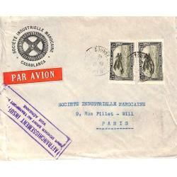 1931 Lettre avion  Affranchissement 1 f 50 CASABLANCA-BOURSE MAROC