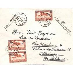 1932 lettre avion pour l'Allemagne RABAT-R.P. MAROC