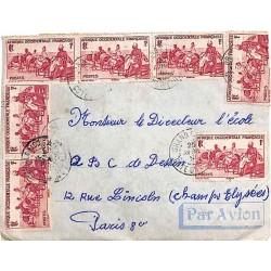 1951 Lettre avion pour la France à 13 f. COTE D'IVOIRE
