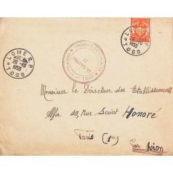 1955 Lettre Affranchissement timbre FM 12