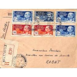 1946 Cover 17 f. 10 postage BRAZZAVILLE A.E.F