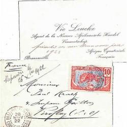 1922 carte de visite Oblitération BRAZZAVILLE-PLAINE CONGO-FRANCAIS
