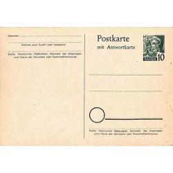Entier Carte postale Bade 10pf avec réponse