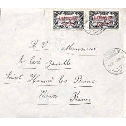 Enveloppe pour la France  Oblitération LATTAQUIE  (léger défaut)