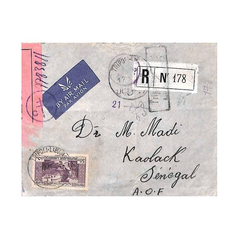 1944 Lettre Oblitération TRIPOLI-LIBAN Bande censure France libre