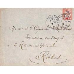 1915 lettre intérieur timbre surcharge + 5 c. Croix Rouge