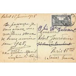 1925 carte postale à 15 c...