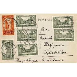 Carte postale pour la Suisse 1930 Affranchissement à 90 c