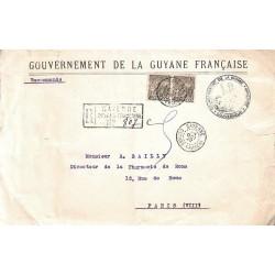 1922 Lettre  officielle recommandée de CAYENNE  GUYANE-FRANCse