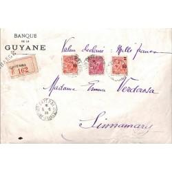 1935 Devant d'enveloppe chargée Affranchissement à 2 f 65 de CAYENNE