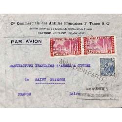 1936 Lettre  avion Affranchissement  à 6 f 50 de CAYENNE