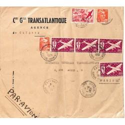 1951 Grande lettre par avion 1951 Affranchissement à 480 f de CAYENNE  GUYANE-FRANCAISE