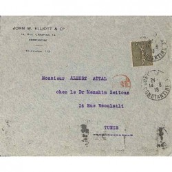 Cachet contrôle postal VISE rouge du contrôle postal de Tunis